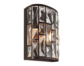 Endon Belle 1 Light Flush Wall Light, Dark Bronze Finish With Clear Crystal Glass - 69392