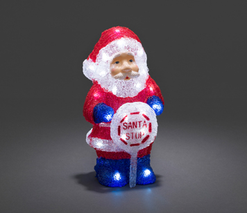 Konstsmide Battery Operated Acrylic Santa With Sign and 32 White LED's - 6143-203