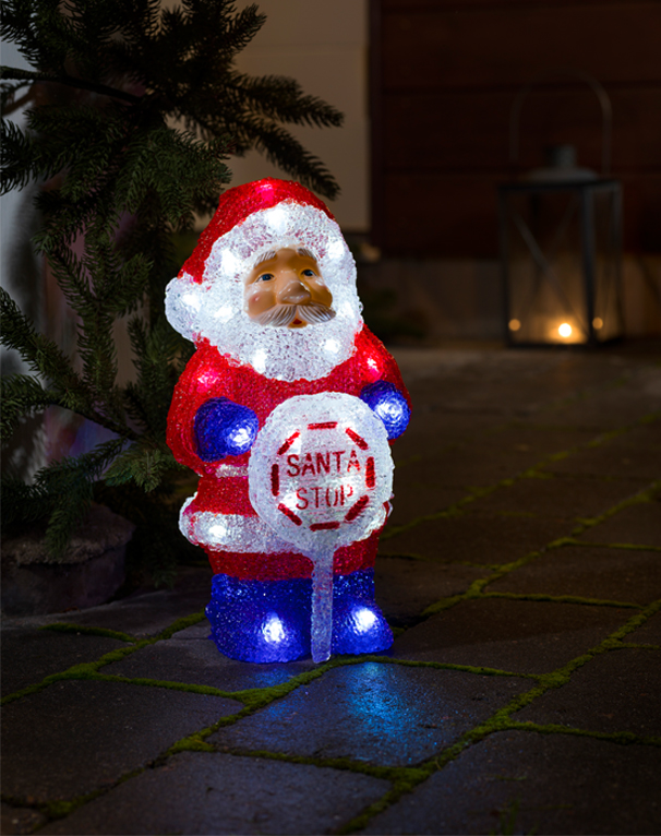 Konstsmide Battery Operated Acrylic Santa With Sign and 32 White LED's - 6143-203 None