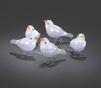 Konstsmide Acrylic 5pc 40 x LED Sparrow Set - 6144-203EE