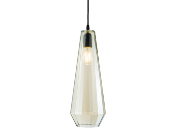Endon Gibson 1 Light Ceiling Pendant, Matt Black Finish With Tinted Cognac Glass - 61501