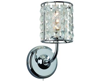 Firstlight Pearl Switched Wall Light, Chrome Finish With Crystal - 6150CH