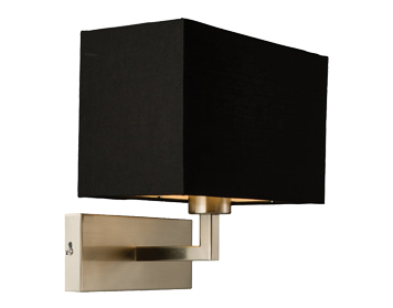 Endon Piccolo 1 Light Switched Wall Light, Satin Nickel Finish With Black Cotton Mix Shade - 61603