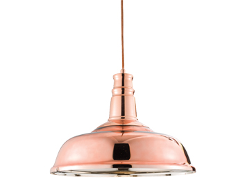 Endon Jackman 1 Light Ceiling Pendant, Copper Finish With Copper Glass - 61705