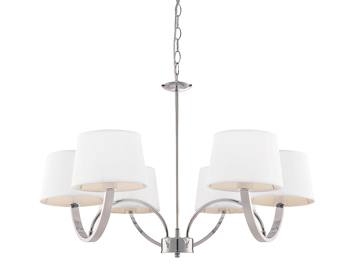 Endon Macy 6 Light Pendant Light, Chrome Plate Finish With Off White Cotton Mix Shade - 61709