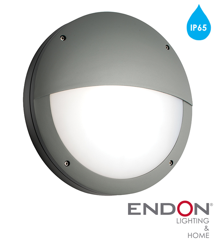 Endon Luik IP65 LED Eyelid Round Outdoor Wall Light, Textured Grey Paint & Opal Polycarbonate ...