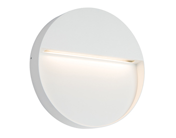 Endon Tuscana LED Round Outdoor Wall Light, Textured Matt White Paint & Opal Polycarbonate - 61836