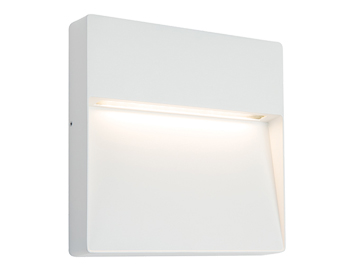 Endon Tuscana LED Square Outdoor Wall Light, Textured Matt White Paint & Opal Polycarbonate - 61837