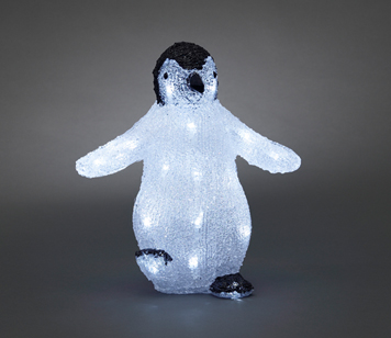Konstsmide Battery Operated Acrylic Baby Penguin With 24 White LED's - 6184-203