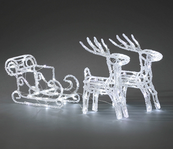Konstsmide IP20 Outdoor Twinkling Acrylic Reindeer's With Sleigh And 96 White LED's - 6192-203EE
