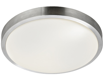 Searchlight Flush LED Bathroom Ceiling Light, Aluminium Trim With White Acrylic Diffuser - 6245-33-LED
