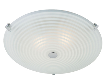 Endon Roundel 2 Light Flush Ceiling Light, Chrome Plate Finish With Frosted & Clear Patterned Glass - 633-32