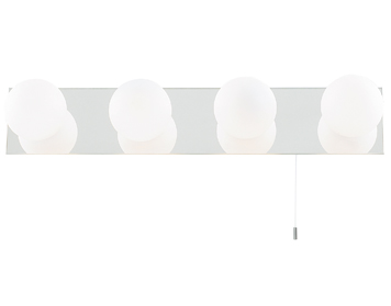 Searchlight Global 4 Light Switched Bathroom Wall Light, Chrome Finish With Opal Glass Shades - 6337-4-LED