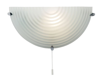 Endon Roundel 1 Light Switched Wall Bracket, Chrome Plate With Frosted & Clear Patterned Glass - 633-WB