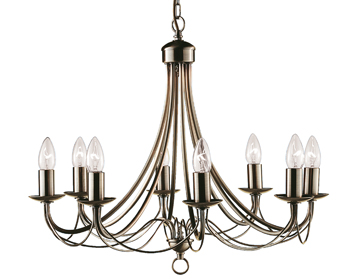Searchlight Maypole 8 Light Ceiling Light, Antique Brass Finish - 6348-8AB