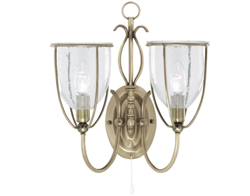 Searchlight Silhouette 2 Light Double Wall Light, Antique Brass Finish With Clear Seeded Glass Shades - 6352-2AB