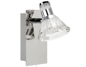 Searchlight Flute Dimmable 1 Light LED Wall Spotlight, Chrome Finish With Clear Acrylic Shades - 6361CC