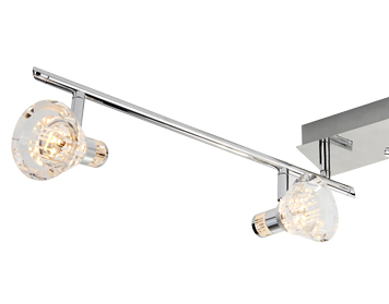 Searchlight Flute Dimmable 4 Light LED Split-Bar Spotlight, Chrome Finish With Clear Acrylic Shades - 6364CC
