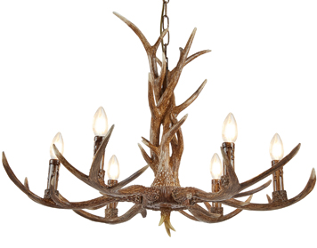 Searchlight Stag 6 Light Ceiling Light, Rustic Brown Resin Finish - 6416-6BR