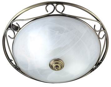 Searchlight 2 Light Flush Ceiling Light, Antique Brass Finish With A Marbled Glass Diffuser - 6436