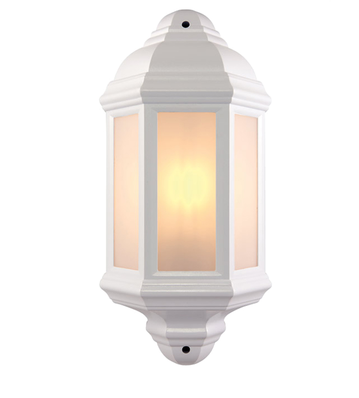 Half Lantern Wall Lights : Endon Halbury IP44 Half Lantern Outdoor Wall Light, Matt White Textured & Frosted ...