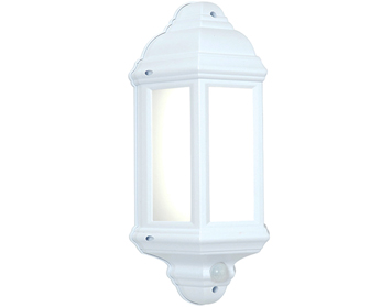 Endon Halbury PIR 1 Light Wall, Matt White Textured & Frosted Polycarbonate Finish - 64665