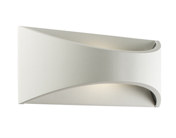 Endon Vulcan LED Outdoor Curved Wall Light (220mm), Textured Matt White Paint & Opal Polycarbonate - 64745