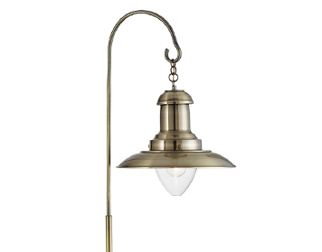 Searchlight Fisherman 1 Light Floor Lamp, Antique Brass Finish With Clear Glass Shade - 6502AB