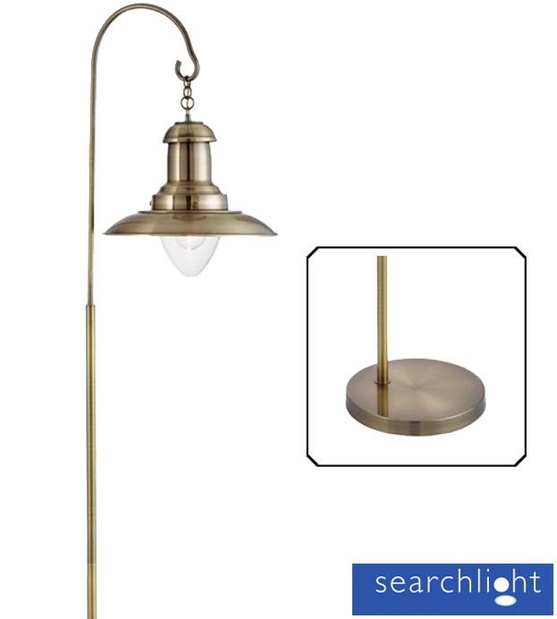 Searchlight 'Fisherman' 1 Light Floor Lamp, Antique Brass With Clear Glass  Shade - 6502AB - Searchlight 'Fisherman' 1 Light Floor Lamp, Antique Brass With