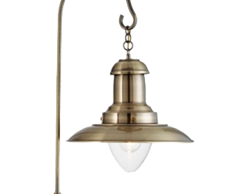 Searchlight fisherman 1 light floor lamp satin silver with searchlight fisherman 1 light floor lamp antique brass with clear glass shade aloadofball Images