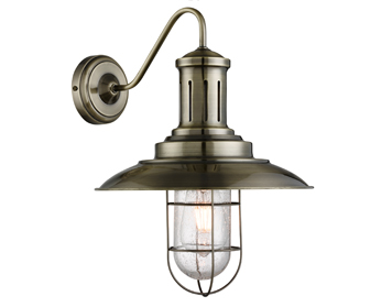 Searchlight Fisherman 1 Light Wall Light, Antique Brass Finish With Caged Shade - 6503AB