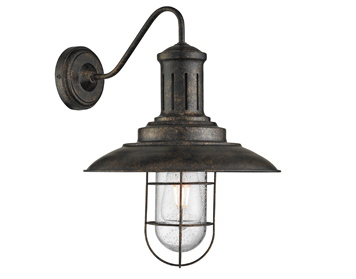 Searchlight Fisherman 1 Light Wall Light, Black Gold Finish With Caged Shade - 6503BG