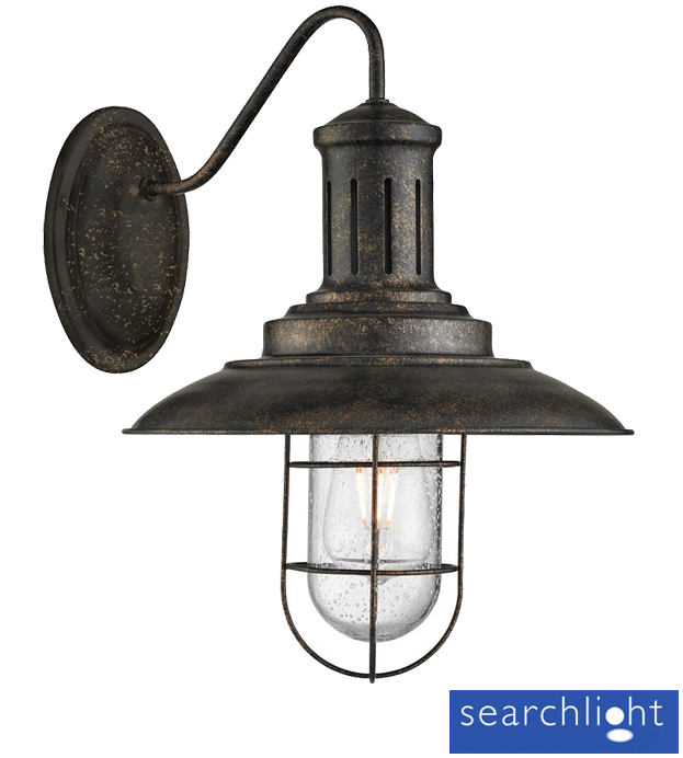 Simple Black Wall Lights : Searchlight Fisherman 1 Light Wall Light, Black Gold With Caged Shade - 6503BG from Easy Lighting