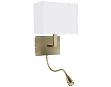 Searchlight 1 Light Switched Wall Light With Integrated LED Reading Lamp, Antique Brass Finish With Fabric Shade - 6519AB