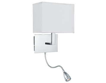 Searchlight 1 Light Switched Wall Light With Integrated LED Reading Lamp, Chrome Finish With Fabric Shade - 6519CC