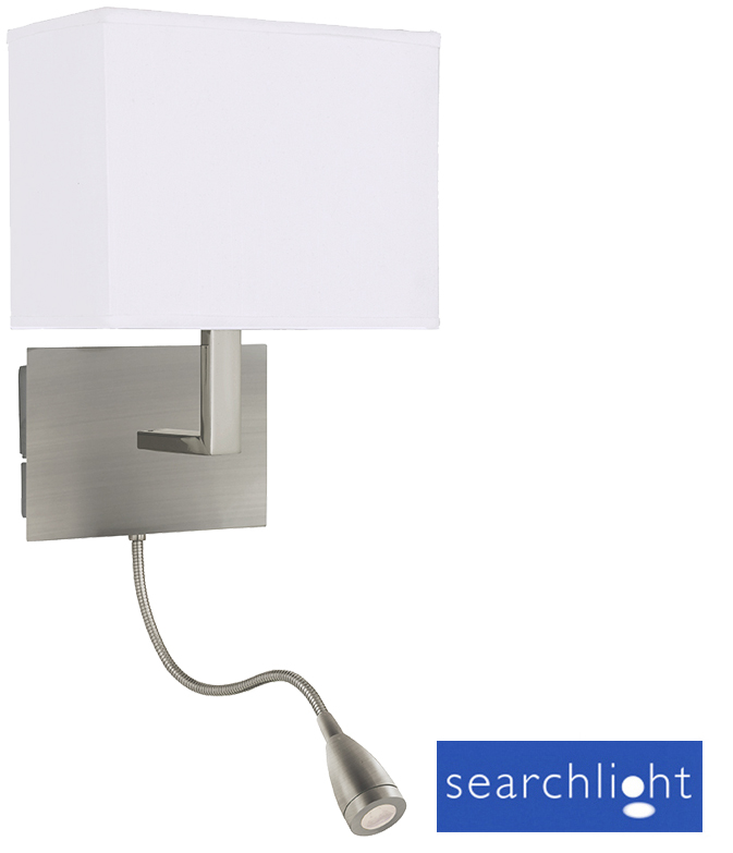 Searchlight Wall Light With LED Flexible Arm, Satin Silver - 6519SS from Easy Lighting