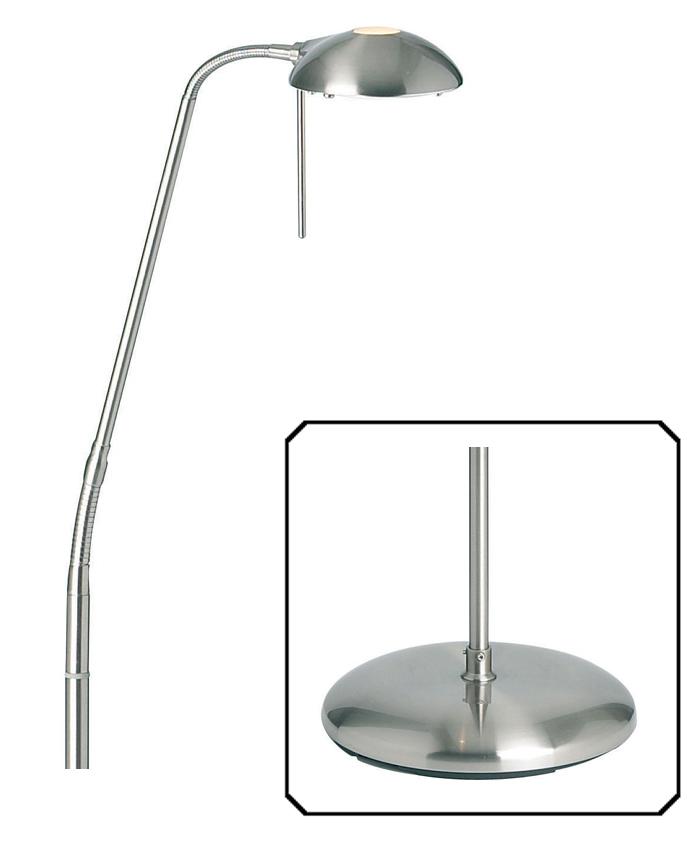 Endon 39hackney39 touch dimmer floor lamp satin chrome for Chrome floor lamp dimmer