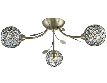 Searchlight Bellis II 3 Light Semi-Flush Ceiling Light, Antique Brass Finish With Glass Shade - 6573-3AB