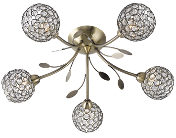 Searchlight Bellis II 5 Light Semi-Flush Ceiling Light, Antique Brass Finish With Glass Shade - 6575-5AB