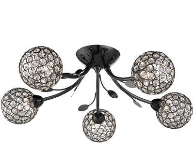 Searchlight Bellis II 5 Light Ceiling Light, Black Chrome Finish With Clear Glass Shades - 6575-5BC