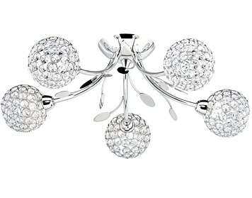 Searchlight Bellis II 5 Light Semi-Flush Ceiling Light, Polished Chrome Finish With Glass Shade - 6575-5CC