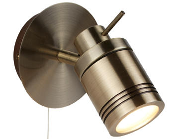 Searchlight Samson 1 Light Bathroom Spot Wall Light, Antique Brass Finish - 6601AB