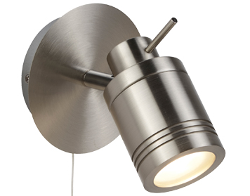 Searchlight Samson 1 Light Bathroom Spot Wall Light, Satin Silver Finish - 6601SS