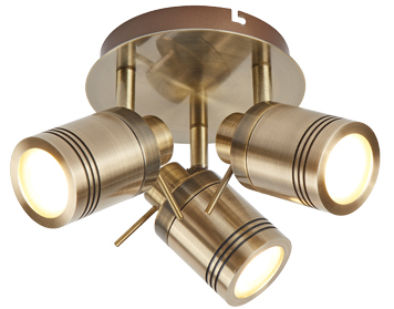 Searchlight Samson 3 Light Bathroom Plate Spotlight, Antique Brass Finish - 6603AB