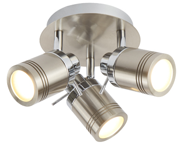 Searchlight Samson 3 Light Bathroom Plate Spotlight, Satin Silver Finish - 6603SS