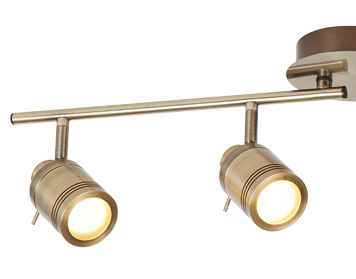 Searchlight Samson 4 Light Bathroom Split Bar Spotlight, Antique Brass Finish - 6604AB