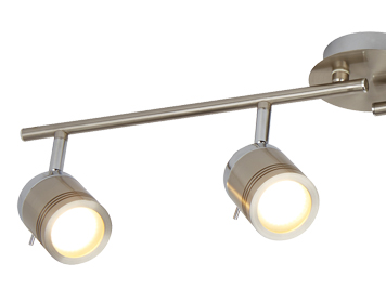 Searchlight Samson 4 Light Bathroom Split Bar Spotlight, Satin Silver Finish - 6604SS