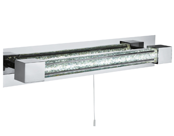 Searchlight Bathroom LED Wall Light, Chrome Finish With Clear Crystal Glass Bar - 6664CC