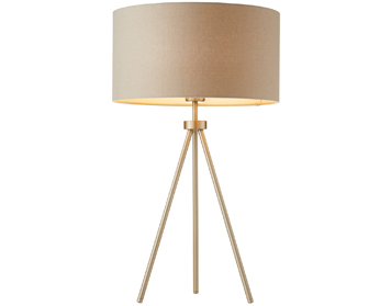 Endon Tri Grey 1 Light Table Lamp, Matt Nickel Plate Finish With Grey Linen Mix Shade - 66986