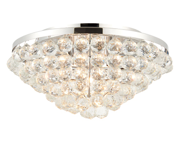 Endon Kiera 4 Light Flush Ceiling Light, Chrome Plate Finish With Clear Crystal Glass - 67019